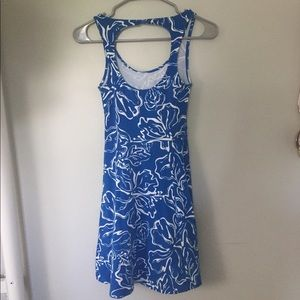 Blue Hibiscus Print Dress from So